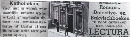 Advertentie voor de Lectura Leesbibliotheek, Zeemanlaan 31 Leiden, uit het Leidsch Dagblad van 23 maart 1943