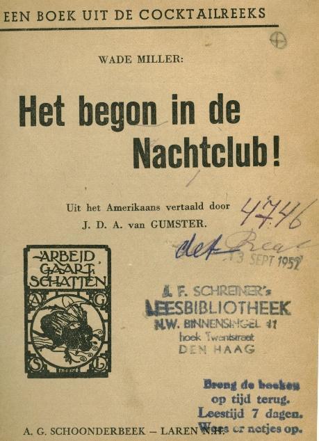 Stempel Schreiner's Leesbibliotheek Den Haag