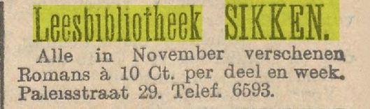 Advertentie van leesbibliotheek Sikken in de Paleisstraat Amsterdam. Uit: Het Nieuws van den dag, 27-11-1909