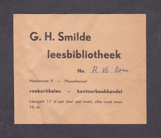 Inlegvelletje van leesbibliotheek G.H.Smilde in Musselkanaal