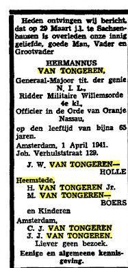 Overlijdensbericht Hermannus van Tongeren sr. Uit: Het Vaderland van 2 april 1941.
