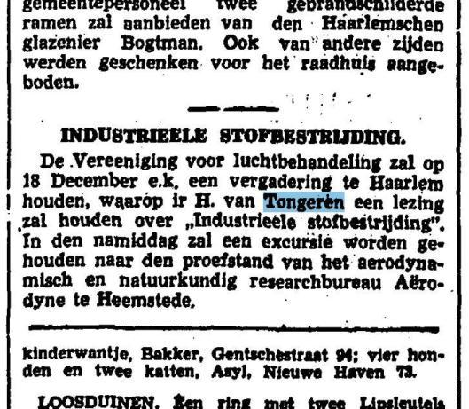 Bericht over lezing en excursie H.van Tongeren uit Het Vaderland van 12-12-1940