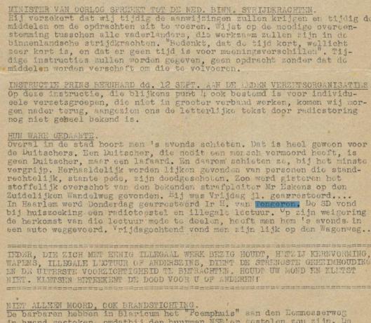 Bericht over dood H,van Tongeren in illegale uitgave: VN-nieuws, speciaal bulletin van Vrij Nederland, 13-9-1944