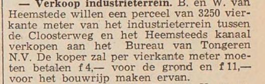 Verkoop van gemeentegrond Heemstede aan Bureau van Tongeren, waar in 1956 een bedrijfsgebouw aan de Industrieweg is verrezen (Haarlems Dagblad, 19-12-1955).