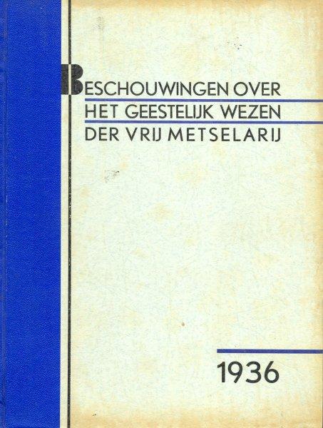 Vooromslag van 'Beschouwingen over het geestelijk wezen der Vrijmetselarij'; door H.,van Tongeren (grootmeester). 1936