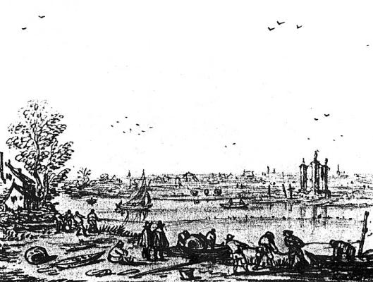 Het Spaarne vanaf Schalkwijk gezien met het galgenveld in Heemstede. Tekening door Esaias van de Velde uit 1618 (Universiteitsbibliotheek Leiden)