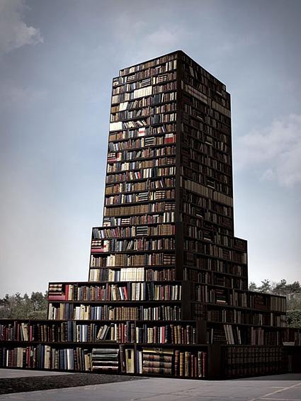 Ontwerp voor een niet uitgevoerd project van een boekentoren door Anca Benera, Bukarest, Roemenië