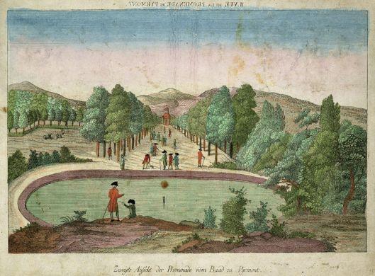 Ingekleurde gravure van promenade naar het heilbad uit 1780