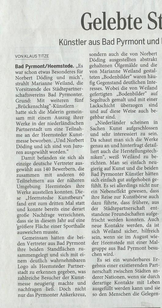 Künsler aus Bad Pyrmont (Marianne Weiland) und Lügde (Norbert Döding) als Aussteller bei der Heemsteder Kunstmesse (Pyrmonter Nachrichten, 18 April 2015)