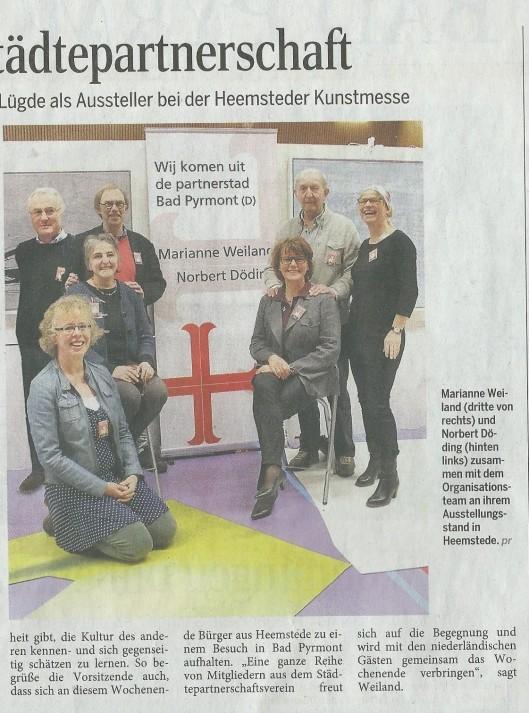 Fortsetzung Künstler aus Bad Pyrmont (Marianne Weiland) und Lügde (Norbert Döding) als Aussteller bei der Heemsteder Kunstmesse (Pyrmonter Nachrichten, 18 April 2015).