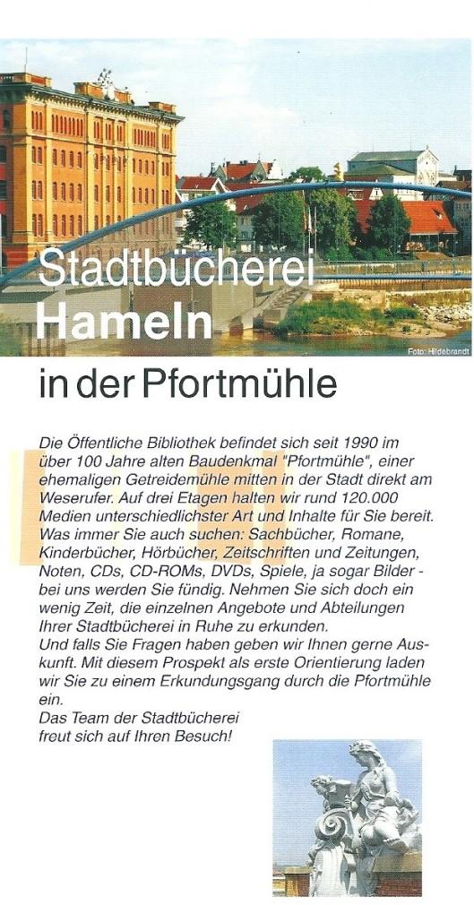 Uit folder van Stadtbücherei Hameln in der Pfortmühle