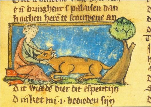 De Lippische Landesbibliothek beschikt over een collectie handschriften en (post)incunabelen. Op deze foto een handschrift van Jacob van Maerlent, Der naturen bloeme, uit 1287. Met miniatuur van een jongevrouw en eenhoorn. (Manuscript nummer 70).