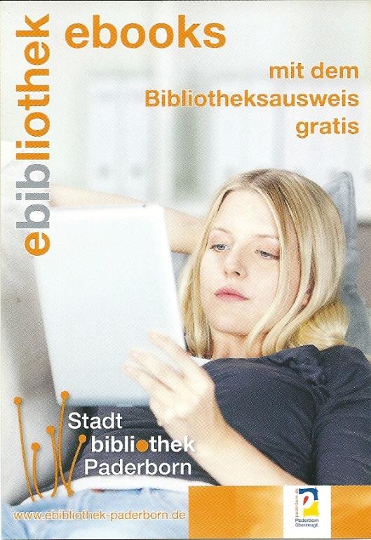 Reclamekaart om e-books gratis te lenen via de Stadtbibliothek Paderborn
