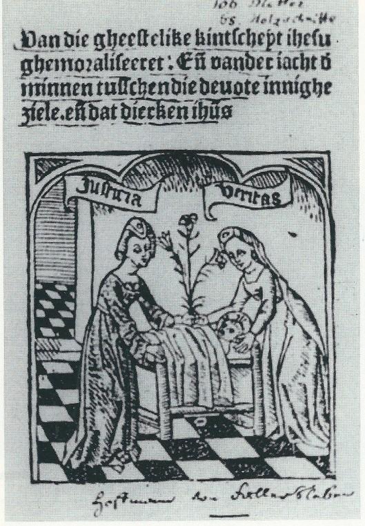 Ex-libri van Hoffmaan von Fallersleben, in: 'Van die gheestelike kintsheyt Jhesu'(Stadsbibliotheek Haarlem - foto E.H.Kuhlmann)