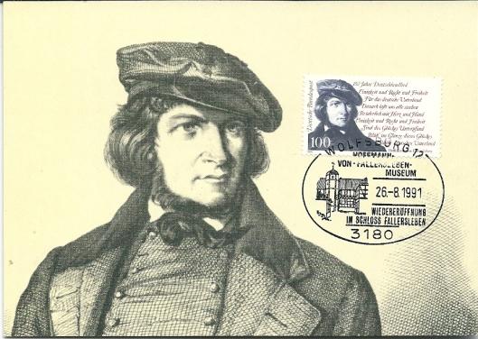 Een op 26 augustus 1991 door Duitse Posteriojen uitgeven maximumkaart bij gelegenheid van 150 jaar Deutschlandlied