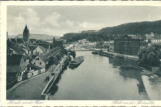 Ansichtkaart van Hameln aan de Weser uit 1927 met rechts de 'Pfortmühle', tegenwoordig huisvesting van stadsbibliotheek en stadarchief