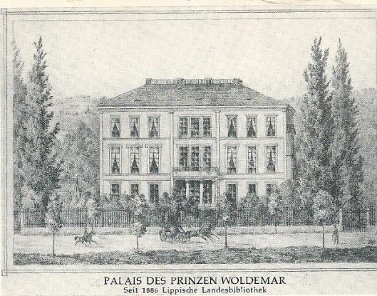 Gravure van het voormalig paleis van prins Woldemar, sinds 1886 huisvesting van de Lippische Landesbibliothek