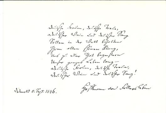 Handschrift van Hoffmann von Fallersleben; de tweede strofe van het 'Deutschlandlied' in Lippische Landesbibliothek Detmold