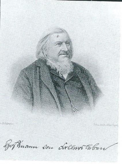 Kopergravure met afbeelding van Hoffmann von Fallersleben uit 1870