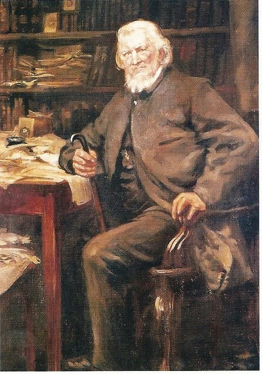 Hoffmann von Fallersleben in zijn werkkamer in Corvey op een schilderij uit 1895
