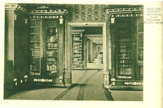 Fürstliche Bibliothek Corvey. Saal 2. Hier op een prentbriefkaart uit 1935