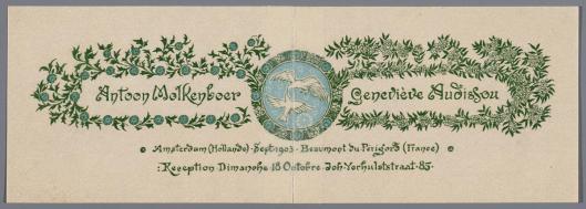 Verlovingskaartje van Antoon Molkenboer en Geneviève Audissou