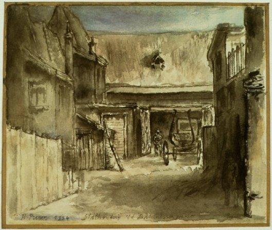 Bakenessergracht Haarlem. Aquarel van H.L.Prenen, 1934 (NHA)