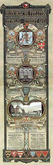 Affiche van historische feesten Beleg van Urecht; door A.Molkenboer