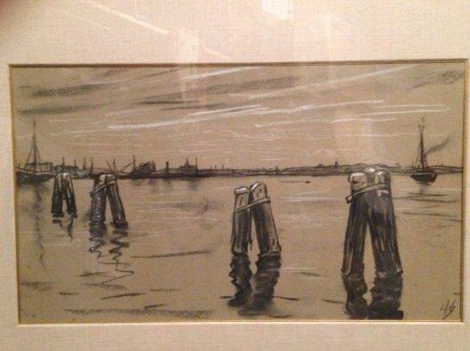 'Gezicht bij Spaarndam' door Louis Hartz, 1935. In de verte (links) is de Oude St.Bavo in Haarlem herkenbaar