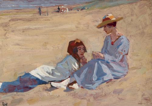 Twee dames aan het strand; door Louis Hartz