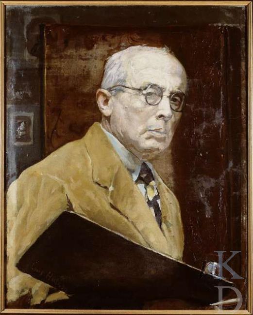Zelfportret van Louis Hartz, in 1934, ongeveer een jaar voor zijn overlijden in Heemstede vervaardigd. (RKD; iconografisch bureau)