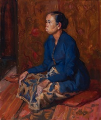 Een zittende Javaanse dame; door Louis Hartz