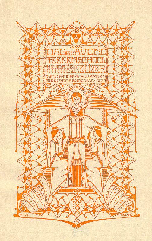 Affiche viir Dag- en Avondschool Hendrik de Keyzer in Amsterdam, in 1906 ontworpen door Antoon Molkenboer