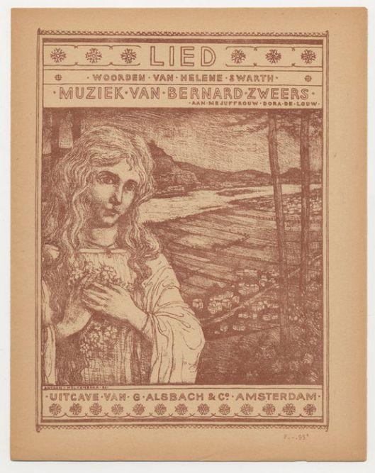 Bladmuziek vormgegeven door Antoon Molkenboer. Lied van Helene Swarth, muziek ban Bernard Zeers, 1896