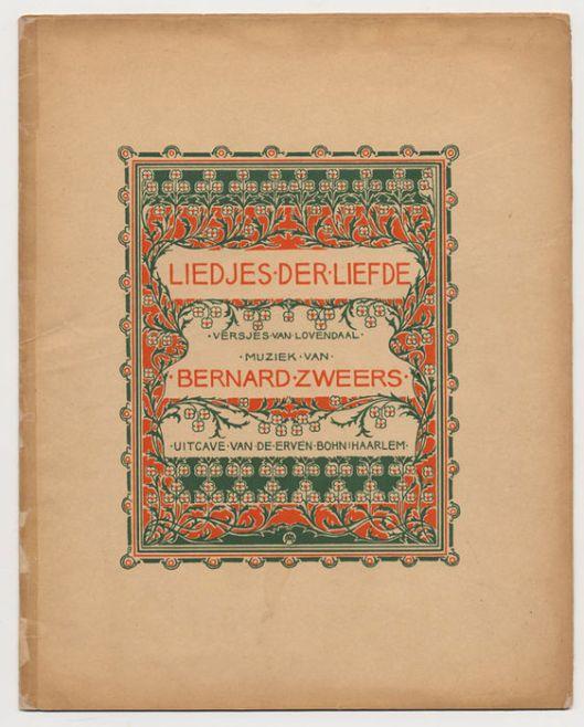 Bladmuziek, geïll. door Antoon Molkenboer. Liedjes der Liefde. Muziek van Bernard Zweers, z.j.