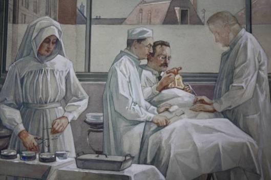 Een operatie; aquarel door Anton Molkenboer uit 1921