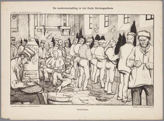 Prent door Antoon Molkenboer van werk in het Oude Buitengasthuis te Amsterdam, 10 febrari 1895