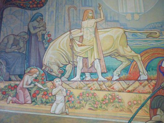 Detail van schilderij 'Het Bovenaardse, het Aardse en het Onderaardse' uit 1922 door Antoon Molkenboer (Eric Leeuwenberg)