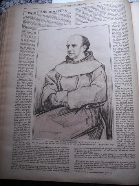 Portrettekening van pater Borromaeus de Greeve O.F.M. door Anton Molkenboer. In: Katholieke Illustratie, 14-9-1918.
