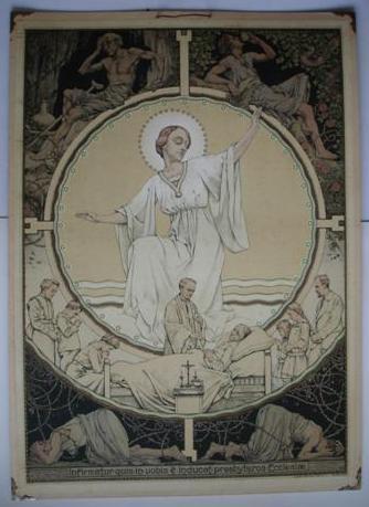 Liturgische schoolplaat door Antoon Molkenboer, 1916, 'Het Heilig Oliesel'.