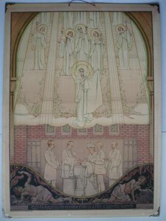 Liturgische schoolplaat uit 1916 door Antoon Molkenboer, 'de Doop