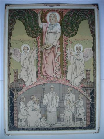 Liturgische schoolplaat uit 1916 door Antoon Molkenboer, 'De Zegening'.