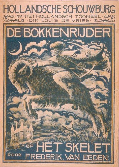 Affiche voor uitvoering van 'De bokkenrijder' of 'het skelet' door Frederik van Eeden, ontworpen door Antoon Molkenboer (Haagse Beeldbank)