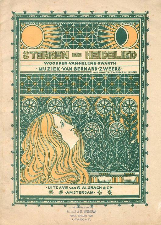 Muziekblad Sterren- en Heidelied door Bernard Zweers op woorden van Helene Swarth. Ontwerp door Antoon Molkenboer
