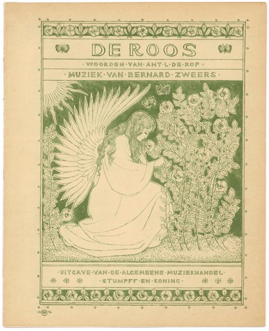 Vooromslag van muziekblad De Roos, in 1896 ontworpen door Antoon Molkenboer
