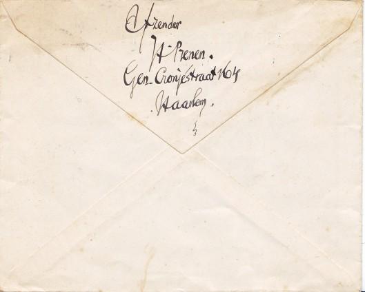 Enveloppe Rijnlandsche Academie, geschreven door Harry Prenen
