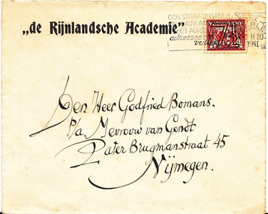 Voorzijde enveloppe van Harry Prenen aan Godfried Bomans in Nijmegen uit 1941 (Frank van der Voordt)