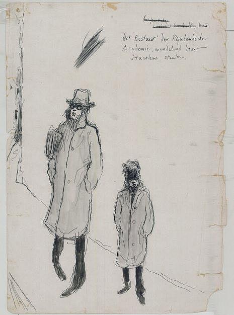 Tekening van Bomans en Prenen wandelend in Haarlem als bestuur van de Rijnlandsche Academie, getekend door Harrie Prenen. Het origineel is in bezit van Bomans-kenner en verzamelaar Bert Rebergen.