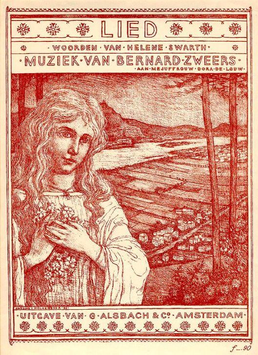 Muziekblad lied van Anton Zweers met tekst van Helene Swarth, 1897, ontworpen door Antoon Molkenboer