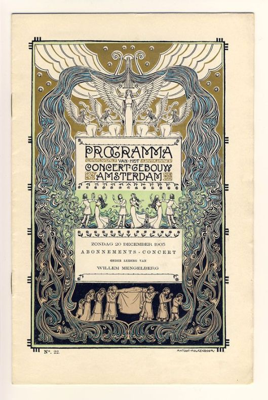 Programma Concertgebouw Amsterdam, 20 december 1903. Ontwerp van Antoon Molkenboer